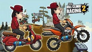 Игры машины гонки супер прохождение на андроид Hill Climb Racing 2 сравниваем скутер и мотокросс