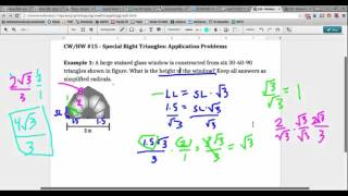 Special Right Triangles   Application Problems