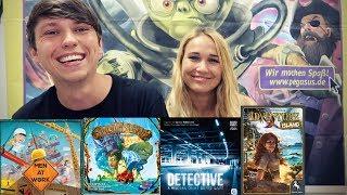 PEGASUS NEUHEITEN 2018   Spirit Island, Men At Work, Detective, Adventure Island, Azul 2.