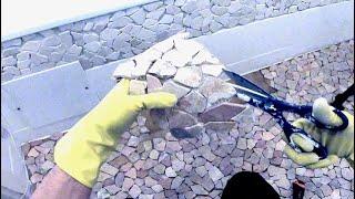 Sharing Ideas: Mosaic Natural Stone - Bruchmosaik verlegen - Anleitung - instruction - bathroom