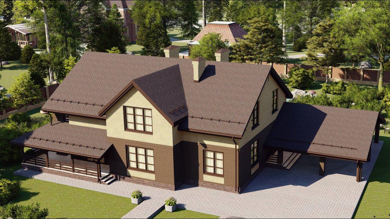Проект большого дома с мансардой и гаражом на 2 авто