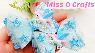 DIY Unicorn Hair Bow With Tulle // How To Make A Hair Bow // Hair Bow Tutorial || Miss O Crafts