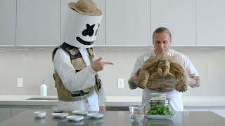 A Python, A Tortoise, & Brian Barczyk Cook Blackened Tofu with Quinoa | Cooking with Marshmello