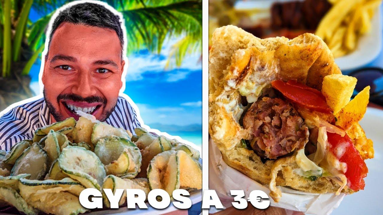 Je teste des GYROS à 3 euros et des BROCHETTES à 1,90 en GRECE ! - VLOG
