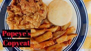 Popeye's Copycat   Fried Chicken   Cajun Fries   Biscuit