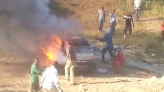 preview picture of video 'New rally car burns to the ground'