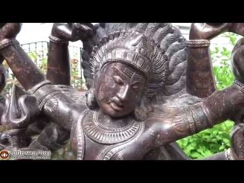 Marble Shiva Statue Battling the Elephant 35