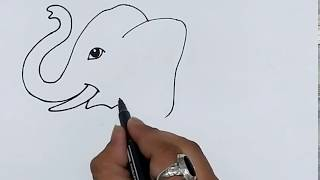Very Easy Cute Elephant Drawing For Kids. ( HINDI ) | How To Draw Elephant Easily!!