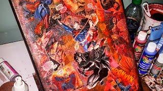 "Turning a Comic Book into Canvas Art |DC Universe Rebirth Annual ""Trinity"" #1 | Comic Collage Art |"