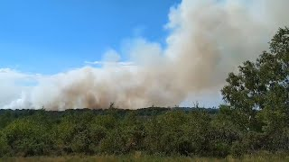 video: Eight fire engines battling wildfire at Chobham Common