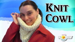 Easy Knit Cowl for Beginners Pattern & Tutorial
