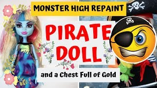 PIRATE GIRL MAKEOVER / MONSTER HIGH DOLL REPAINT / HOW TO DRAW REALISTIC FACE / BARBIE SPEEDPAINT
