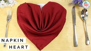 Napkin Folding Heart - How To Fold A Napkin Into A Heart - Table Setting Idea