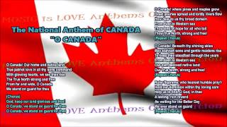 Canada National Anthem FULL VERSION w/music, vocal & lyrics, and provinces & territories  flags