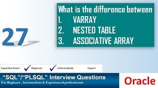 Oracle PL SQL interview question difference between VARRAY NESTED TABLE ASSOCIATIVE ARRAY