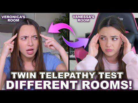 Twin Telepathy Test in Different Rooms! *kinda creepy* - Merrell Twins