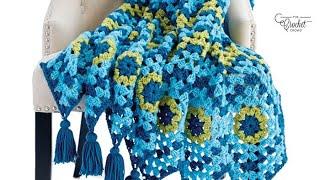 Crochet Granny Square Wave Blanket Pattern