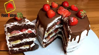 Шоколадный торт c клубникой и бананом вы точно полюбите