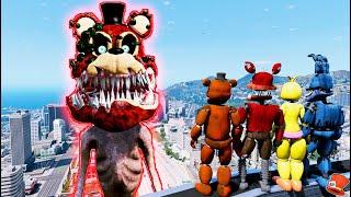 Giant TWISTED FREDDY SIREN HEAD vs All Animatronics! (GTA 5 Mods FNAF RedHatter)