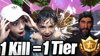 1 Kill = 1 Tier With 10 Year Old Little Brother!(Fortnite Battle Royale)