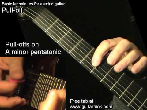 Pull-Off for beginners - electric guitar lesson, learn how to play