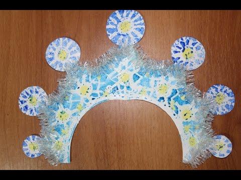 Кокошник Снегурочки своими руками. Видео уроки рисования для детей 4-8 лет