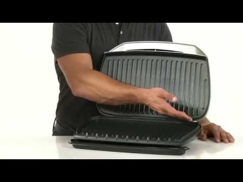 , George Foreman 9-Serving Classic Plate Electric Grill and Panini Press, Silver, GR144