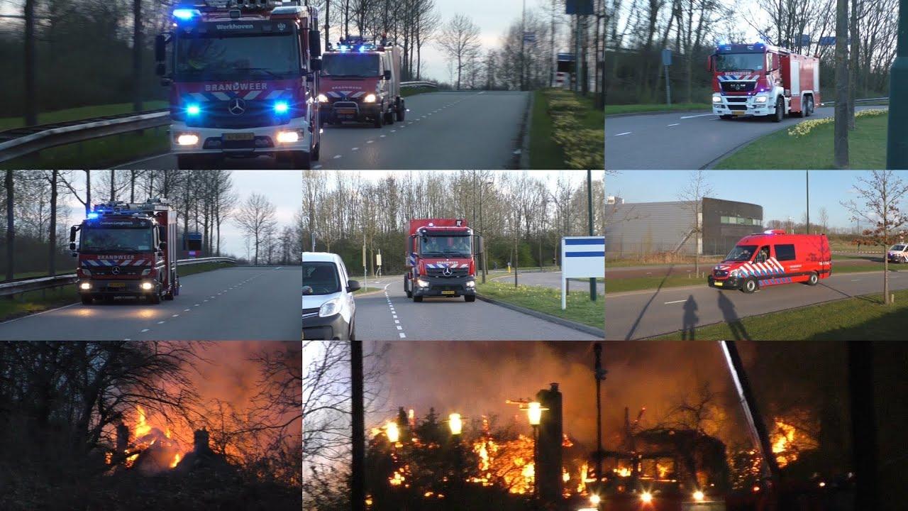 Rietdekkersteam & verschillende Brandweer voertuigen rukken uit voor een grote brand in Dordrecht!