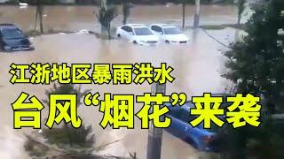 """江浙地区暴雨洪水,台风""""烟花""""来袭【时事追踪】"""