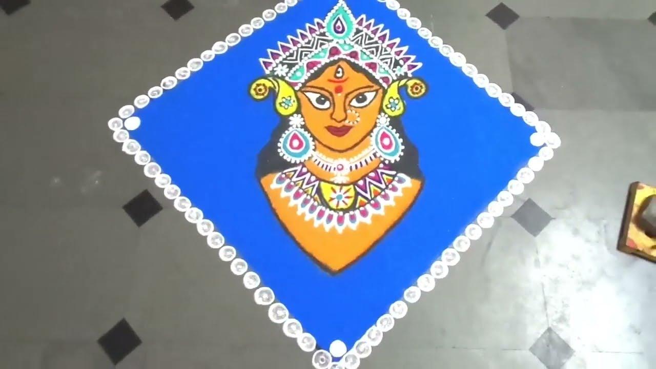 colourful navaratri hindu festival rangoli design by latest rangoli