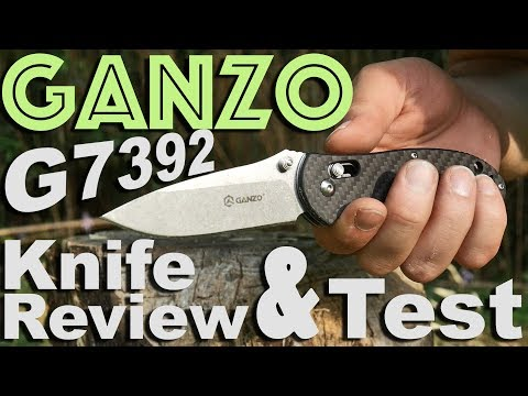 Ganzo G7392 Carbon Fiber Handle Pocket Knife Review with Bamboo Abuse Test
