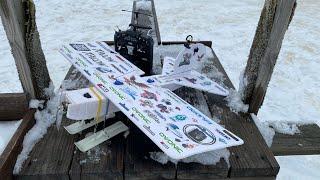 FPV ???? FliteTest Bloody Baron sticker plane with skis. ???? Flight 1
