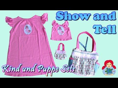 Show and Tell   Kind und Puppe Nachthemd und Taschen Set