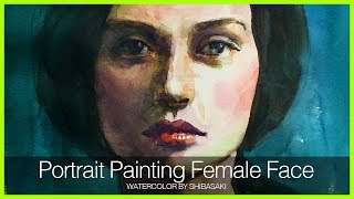 [Eng Sub] Watercolor Portrait Painting Female Face Easy Tutorial 水彩で女性の顔を美しく描くコツ 初心者講座