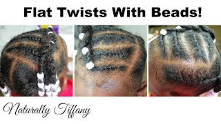 Cute Toddler Style! | Flat Twists & Beads (Kids Natural Hair Care)