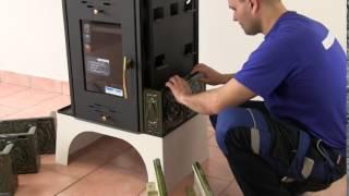 Каминная печь  с водяным контуром Haas+Sohn Eboli ( кафельная печь , каминофен) Коричневая від компанії House heat - відео