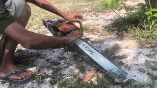 Fixing Machine cut tree, ជួសផុសម៉ាសុីនយន្ដកាត់ឈេី