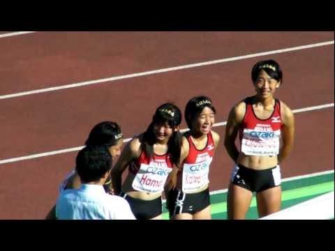 全国中学校陸上競技 女子  4x100mR 決勝インタビュー 2012.8.22
