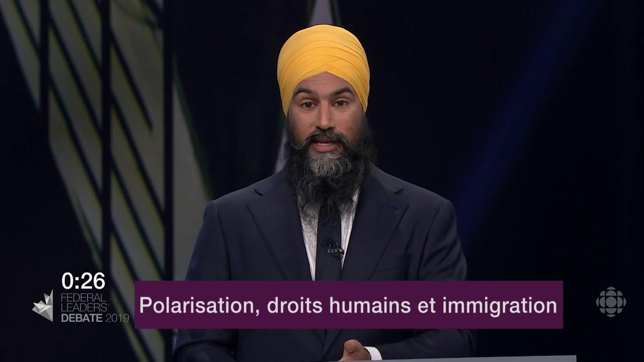 Jagmeet Singh répond à la question du modérateur sur la Loi sur la laïcité du Québec