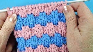 Хитрые кирпичики  Узор для шапки Knitting pattern for hat Узор вязания спицами  - 48