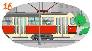 Мультфильм про машины (Раскраска) - общественный транспорт с вагонами в большом городе
