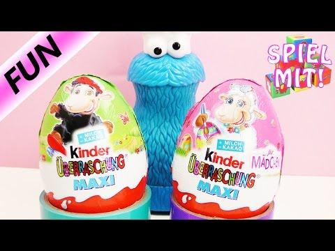 Überraschungseier auspacken mit Krümelmonster Deutsch - MAXI Kinder Ü-Eier - Süßigkeiten Test