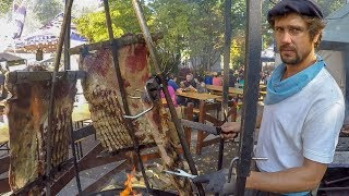 Argentina Street Food. Huge Load of Asado and Mixed Meat on Grill