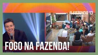 Faro invade a A Fazenda 13 e mostra aos peões as placas entregues por Liziane Gutierrez