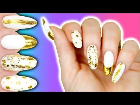 1 FOIL - 5 EASY DESIGNS!! 32¢ ALIEXPRESS GOLD NAIL FOIL TUTORIAL