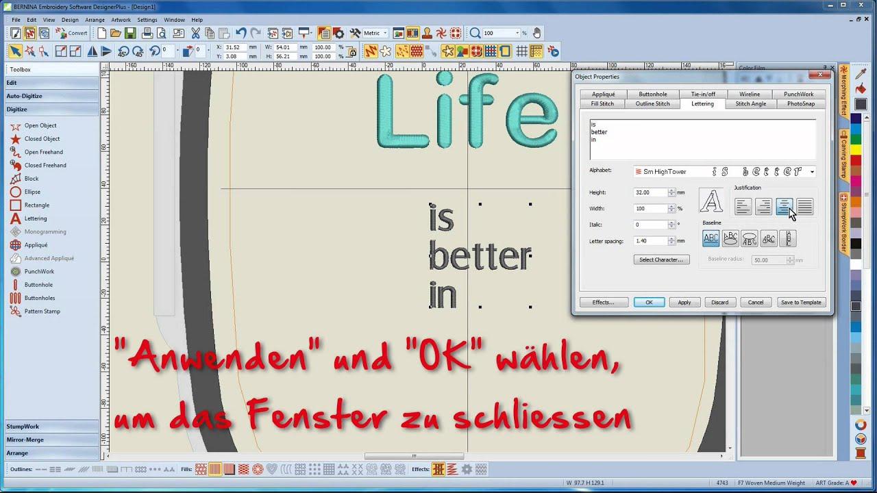 BERNINA Sticksoftware 7 Tutorial 9/12 - Arbeiten mit Schriften