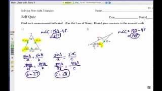 How To Solve Non-right Triangles: Self Quiz 1