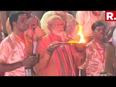 Prime Minister Narendra Modi Is Performing The Ganga Aarti At The Dashashwamedh Ghat In Varanasi