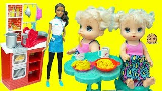 Baby Alive Play Doh Food Dinner with Chef Barbie Doll  - Kids Toy Video