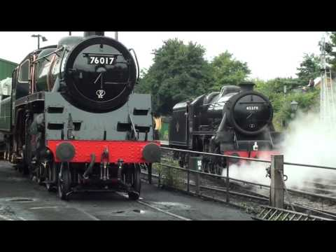 Ivatt 2MT 41312 and LMS Black 5 45379 departing Ropley shed …